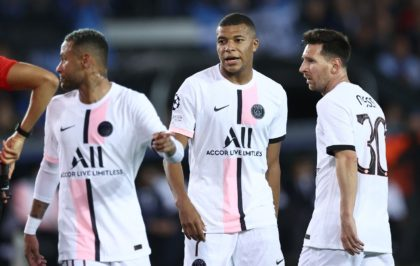 Neymar, Kylian Mbappe and Lionel Messi played together for the first time in midweek but PSG were held by Club Brugge in the Champions League