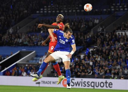 Two good: Victor Osimhen scored twice for Napoli against Leicester
