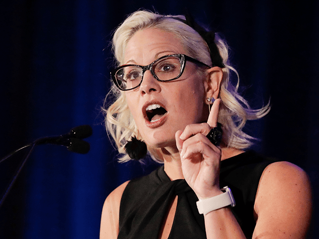 Sen. Kyrsten Sinema, D-Ariz. speaks during a luncheon at the Arizona Biltmore, Friday, May 17, 2019, in Phoenix. Arizona Senators Sinema and Martha McSally spoke to a crowd at an Arizona Chamber of Commerce and Industry event to give an update on action in Washington, D.C. (AP Photo/Chris Carlson)