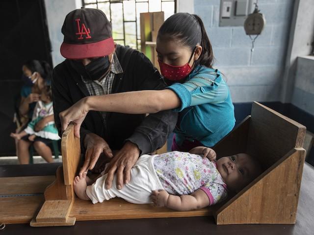 Volunteer Santiago Sanchez, left, measures the height of a baby boy alongside the baby's mother at a health center in Cachoche village near Tizamarte, Guatemala, December 10, 2020. (AP Photo/Moises Castillo)