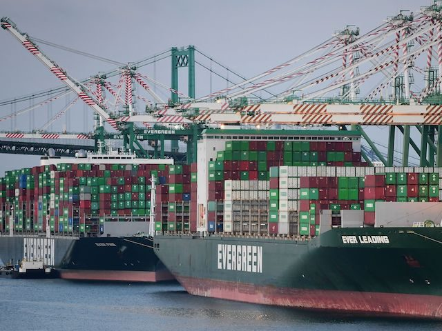 Cargo ships filled with containers dock at the Port of Los Angeles on September 28, 2021, in Los Angeles, California. (Frederic J. Brown/AFP via Getty Images)