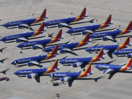 Southwest Airlines Boeing 737 MAX aircraft are parked on the tarmac after being grounded, at the Southern California Logistics Airport in Victorville, California on March 28, 2019. - After two fatal crashes in five months, Boeing is trying hard -- very hard -- to present itself as unfazed by the …