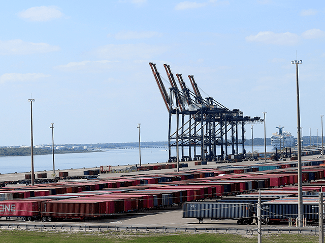 Shipping containers are seen at the Jacksonville Port Authourity amid the Coronavirus outbreak on March 27, 2020 in Jacksonville, Florida. JAXPORT is Florida's largest container port. The World Health Organization declared coronavirus (COVID-19) a global pandemic on March 11. (Photo by Sam Greenwood/Getty Images)