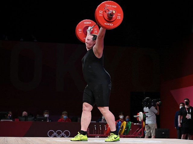 Laurel Hubbard of New Zealand competes in the women's +87 kg weightlifting competition during the Tokyo 2020 Olympic Games at the Tokyo International Forum in Tokyo on August 2, 2021. (Photo by Mohd RASFAN / AFP) (Photo by MOHD RASFAN / AFP via Getty Images)
