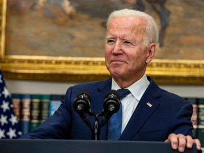 WASHINGTON, DC - AUGUST 22: U.S. President Joe Biden speaks in the Roosevelt Room on the continuing situation in Afghanistan and the developments of Hurricane Henri at the White House on August 22, 2021 in Washington, DC. The White House announced earlier that in a 24 hour period starting on …