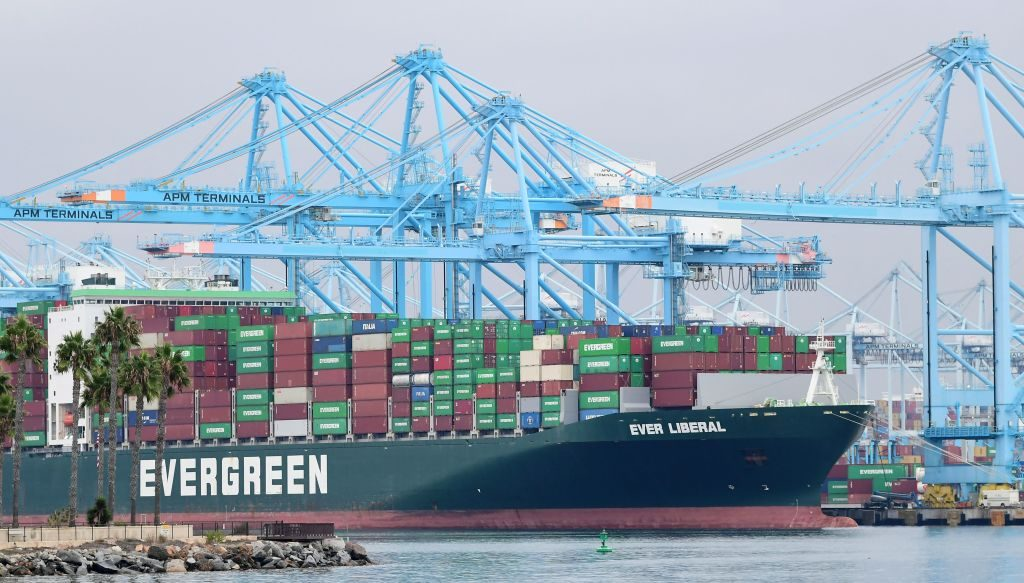 The Evergreen cargo ship 'Ever Liberal' filled with containers is seen at the Port of Los Angeles on October 6, 2021 in San Pedro, California. A record number of cargo ships have been stuck in limbo off the southern California coast waiting for entry to either the Ports of Los Angeles or Long Beach. (FREDERIC J. BROWN/AFP via Getty Images)