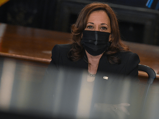 US Vice President Kamala Harris holds a Labor Task Force Meeting on October 7, 2021, in the the Vice Presidents Ceremonial Office at the Eisenhower Executive Office Building, next to the White House, in Washington, DC. (Photo by MANDEL NGAN / AFP) (Photo by MANDEL NGAN/AFP via Getty Images)