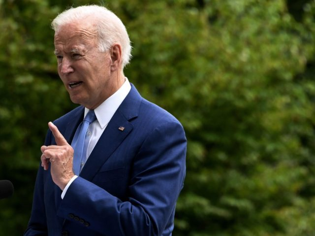 US President Joe Biden speaks about restoring protections for national monuments on the North Lawn of the White House on October 8, 2021 in Washington, DC. (Photo by Olivier DOULIERY / AFP) (Photo by OLIVIER DOULIERY/AFP via Getty Images)