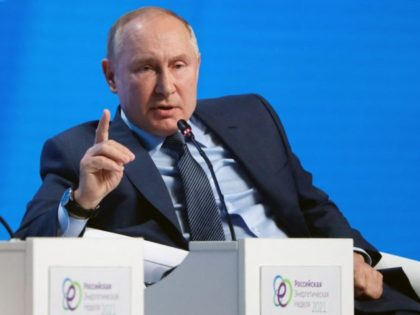 Russian President Vladimir Putin attends a session of the Russian Energy Week International Forum in Moscow on October 13, 2021. (Photo by Mikhail METZEL / POOL / AFP) (Photo by MIKHAIL METZEL/POOL/AFP via Getty Images)