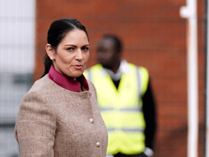 BRISTOL, ENGLAND - OCTOBER 15: Home Secretary Priti Patel arrives for a regional cabinet meeting at the Rolls-Royce factory on October 15, 2021 in Bristol, England. (Photo by Steve Parsons-WPA Pool/Getty Images)