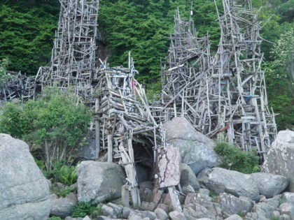 Wooden artwork structures at Ladonia Micro Nation near Kullaberg, Sweden.