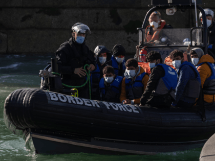 DOVER, ENGLAND - SEPTEMBER 09: Migrants are brought into Dover docks by Border Force staff on September 9, 2021 in Dover, England. Facing a continued rise in migrant arrivals across the English Channel, the British government has authorised its Border Force to turn back boats while at sea, in some …