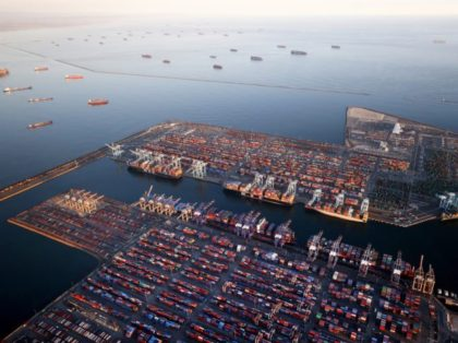 LOS ANGELES, CALIFORNIA – SEPTEMBER 20: In an aerial view, container ships (Top L) are anchored by the ports of Long Beach and Los Angeles as they wait to offload on September 20, 2021 near Los Angeles, California. (Photo by Mario Tama/Getty Images)