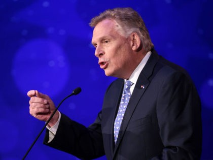 ALEXANDRIA, VIRGINIA - SEPTEMBER 28: Former Virginia Gov. Terry McAuliffe (D-VA) answers a question in a debate with Republican gubernatorial candidate Glenn Youngkin hosted by the Northern Virginia Chamber of Commerce September 28, 2021 in Alexandria, Virginia. The gubernatorial election is November 2. (Photo by Win McNamee/Getty Images)