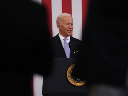 SCRANTON, PENNSYLVANIA - OCTOBER 20: President Joe Biden speaks at an event at the Electric City Trolley Museum in Scranton on October 20, 2021 in Scranton, Pennsylvania. In an effort to appease West Virginia Senator Joe Manchin, the President has discussed a $1.75 to $1.9 trillion price tag for the …