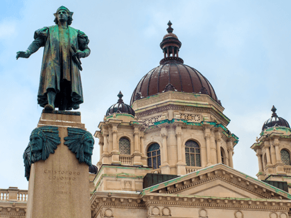 A statue of Christoper Columbus stands before the Onanadaga County Courthouse in Syracuse NY
