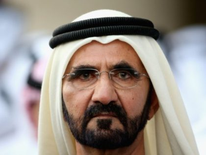 DUBAI, UNITED ARAB EMIRATES - MARCH 29: A portrait of Sheikh Mohammed bin Rashid Al Maktoum ruler of Dubai looks on during the Dubai World Cup at the Meydan Racecourse on March 29, 2014 in Dubai, United Arab Emirates. (Photo by Warren Little/Getty Images)