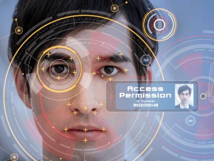 Biometrics concept. Facial Recognition System. Iris recognition. - stock photo