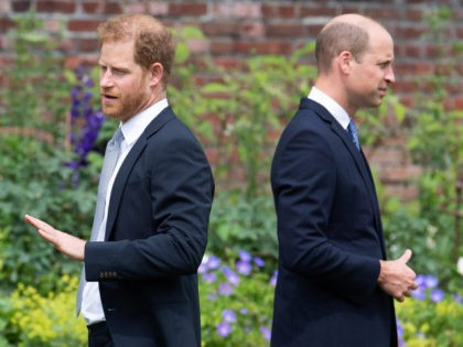 TOPSHOT - Britain's Prince Harry, Duke of Sussex (L) and Britain's Prince William, Duke of Cambridge attend the unveiling of a statue of their mother, Princess Diana at The Sunken Garden in Kensington Palace, London on July 1, 2021, which would have been her 60th birthday. - Princes William and …
