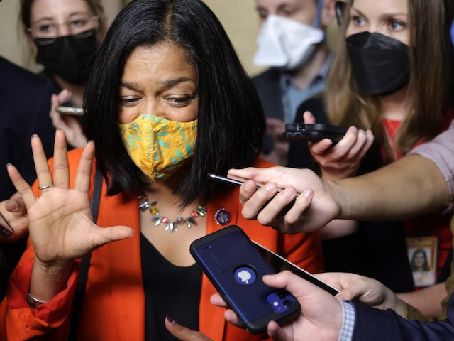 Rep. Pramila Jayapal (D-WA) speaks to members of the press outside a House Democratic caucus meeting at the U.S. Capitol on October 1, 2021 in Washington, DC. (Alex Wong/Getty Images)