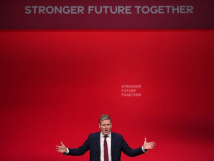 Labour leader Keir Starmer gives his keynote speech on the final day of the annual Labour Party conference in Brighton, on the south coast of England on September 29, 2021. (Photo by DANIEL LEAL-OLIVAS / AFP) (Photo by DANIEL LEAL-OLIVAS/AFP via Getty Images)Labour leader Keir Starmer gives his keynote speech …