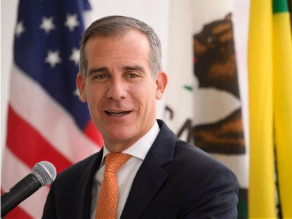 Los Angeles Mayor Eric Garcetti speaks during the opening of the Terminal 1 expansion at Los Angeles International Airport (LAX) on June 4, 2021 in Los Angeles, California. - - The terminal expansion is part of a $477.5 million infrastructure project to expand passenger capacity including security screening, baggage, and …
