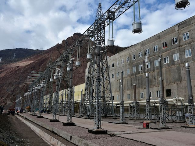 A picture taken on November 14, 2018 shows energy pillars of the Rogun hydro-electric dam, about 100 km northeast of the Tajik capital Dushanbe, on the Vakhsh River in southern Tajikistan. - Tajikistan on November 16, 2018 inaugurates the USD 3.9 billion hydro-electric power plant, a mega project that will enable the impoverished country to eliminate domestic energy shortages and export electricity to Afghanistan and Pakistan. Built on the Vakhsh River in southern Tajikistan, the plant championed by President Emomali Rakhmon is expected to reach a height of 335 metres (1,099 feet) in a decade, becoming the world's tallest hydro-electric dam. (AFP via Getty Images)