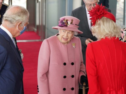 Britain's Queen Elizabeth II (C), Britain's Prince Charles, Prince of Wales (L) and Britain's Camilla, Duchess of Cornwall (R) attend the ceremonial opening of the sixth Senedd, the Welsh Parliament, in Cardiff, Wales on October 14, 2021. (Photo by Jacob King / POOL / AFP) (Photo by JACOB KING/POOL/AFP via …