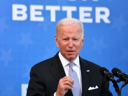 US President Joe Biden speaks after touring the Electric City Trolley Museum as he promotes the Bipartisan Infrastructure Deal and Build Back Better in Scranton, Pennsylvania on October 20, 2021. (Photo by Nicholas Kamm / AFP) (Photo by NICHOLAS KAMM/AFP via Getty Images)
