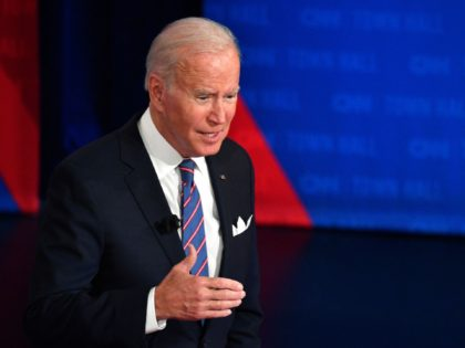 US President Joe Biden participates in a CNN town hall at Baltimore Center Stage in Baltimore, Maryland on October 21, 2021. (Photo by Nicholas Kamm / AFP) (Photo by NICHOLAS KAMM/AFP via Getty Images)