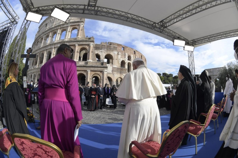 """Pope Francis attends the Prayer for Peace Meeting organized by the St. Egidio Community: """"Peoples as Brothers, Future Earth. Religions and Cultures in Dialogue"""" at the Piazza del Colosseo in Rome, Italy, on Thursday, October 7, 2021. (Photo provided by Vatican)"""