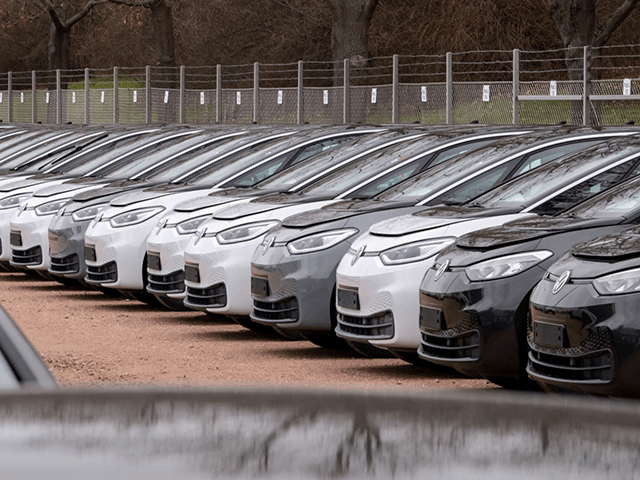 In this Tuesday, Feb. 25, 2020 file photo, Electric car ID.3 cars stand at the factory area during a press tour at the plant of the German manufacturer Volkswagen AG ,VW, in Zwickau, Germany. Automaker Volkswagen tripled sales of battery-only cars last year as its new electric compact ID.3 came …