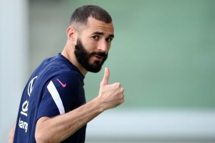 Double dream: Karim Benzema training ahead of the Nations League final and as he was named on the list of Ballon d'Or candidates