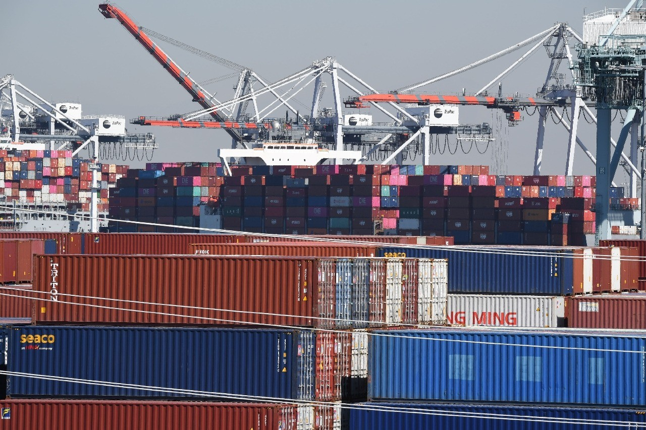 Containers are piling up at ports as businesses struggle to cope with soaring consumer demand. (AFP/Robyn Beck)