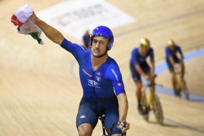 Italy's Liam Bertazzo celebrates winning the men's Team Pursuit world title