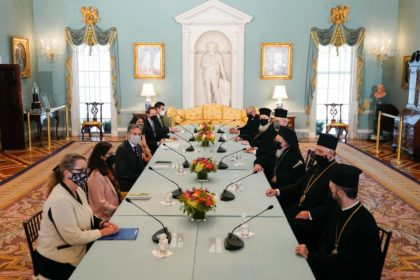 Secretary of State Antony Blinken (thid on left) welcomes Ecumenical Patriarch Bartholomew I (third from right) at the State Department