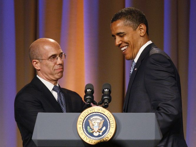 Obama Huddles with Bill Clinton, Katzenberg in pre-Fundraiser Confab
