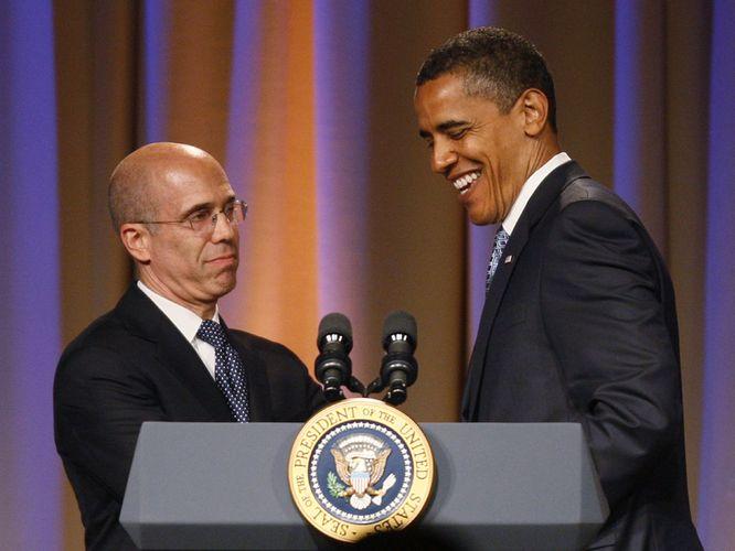 Obama Huddles with Bill Clinton, Katzenberg in pre-Fundraiser Confab
