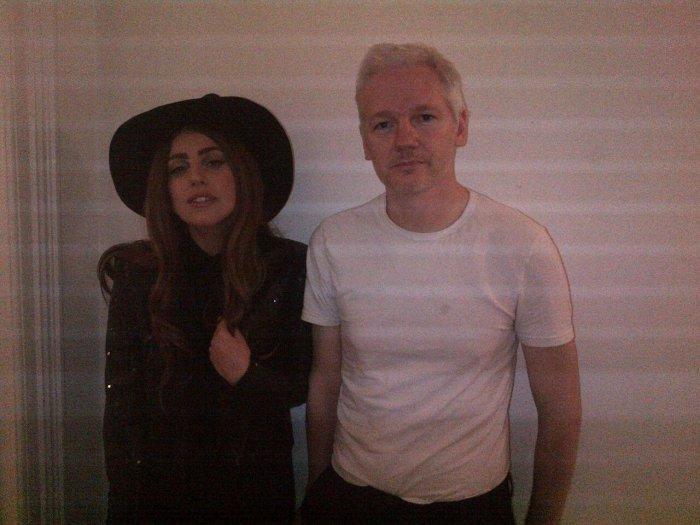 Lady Gaga Sips Tea with WikiLeaks Founder Julian Assange