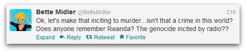 Midler Rwanda tweet