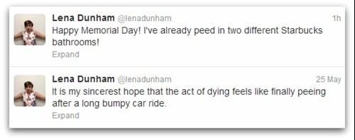 Lena Dunham tweets on urine