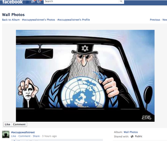 Occupy Facebook Page Touts Jew Hating Cartoon