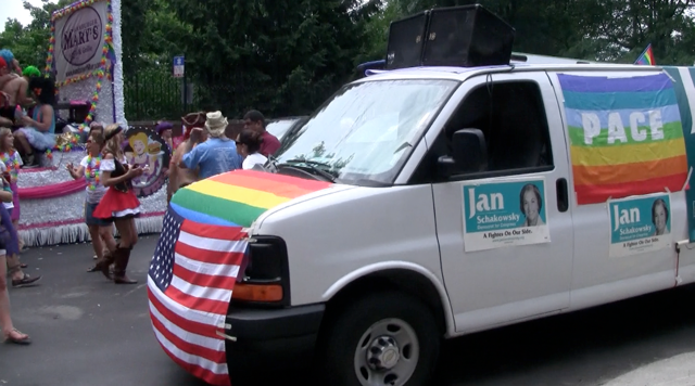 Schakowsky Disgraces American Flag at Gay Pride Parade