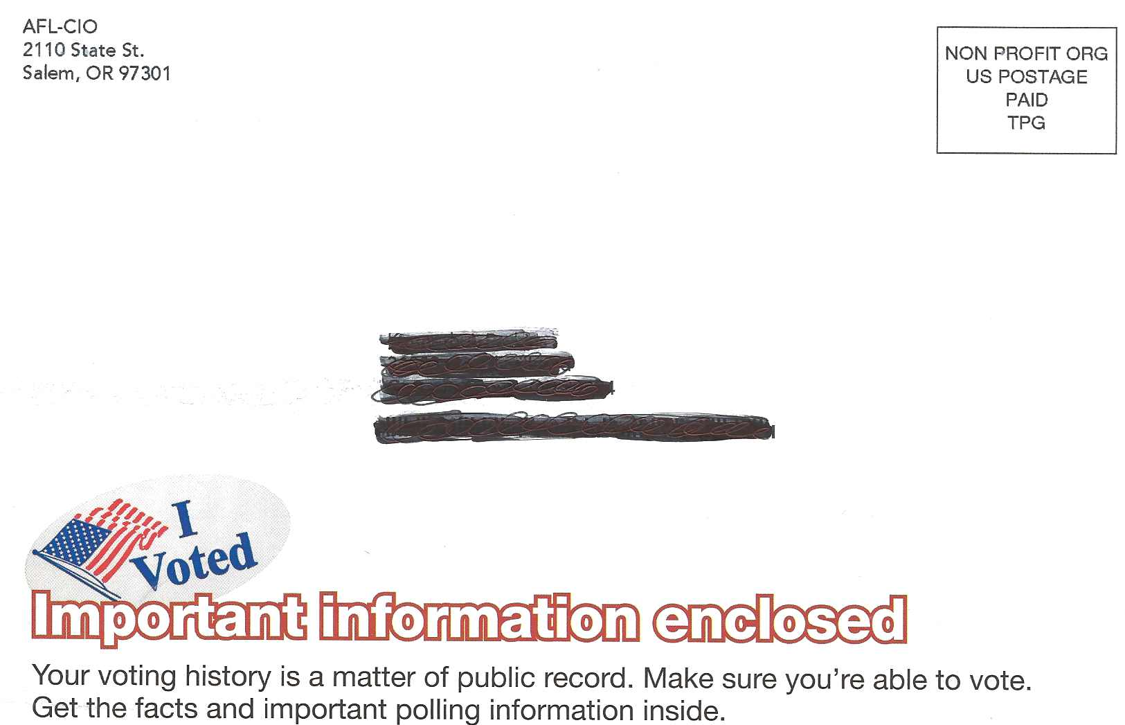 AFL-CIO Warns Oregon Voters: 'Your voting history is a matter of public record'