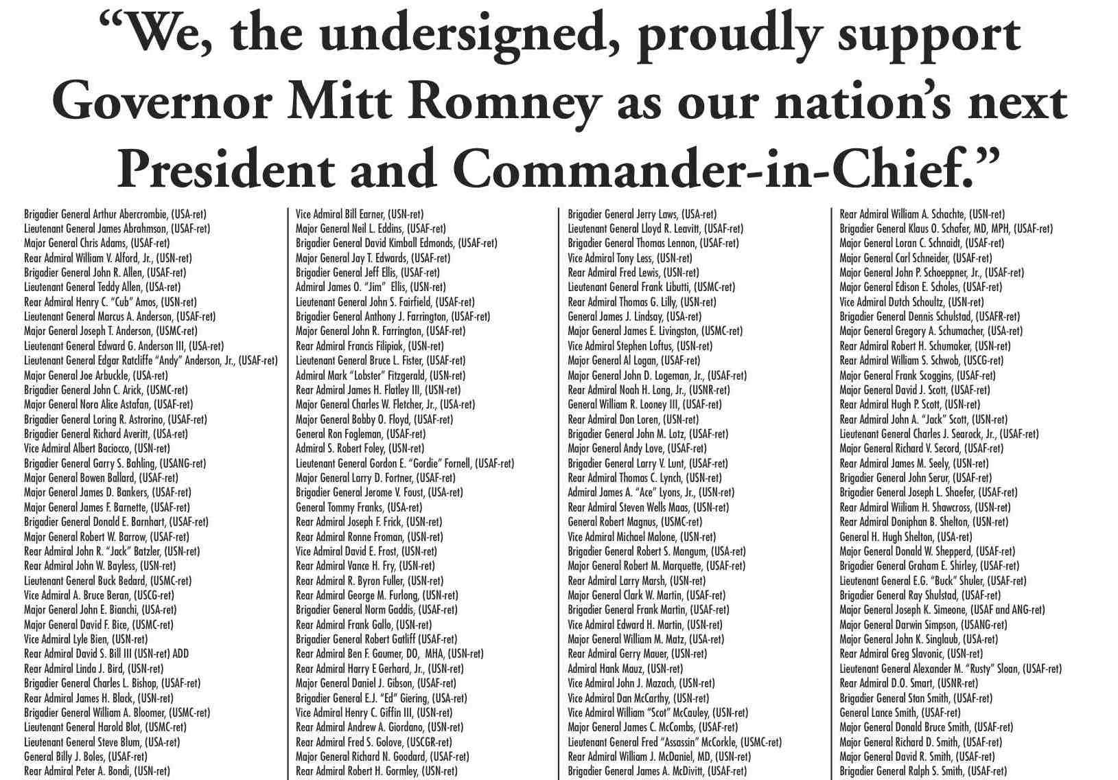 500 Admirals, Generals Endorse Romney