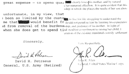 Breaking: Both Petraeus and Allen Wrote Letters for Kelley's Sister's Custody Battle