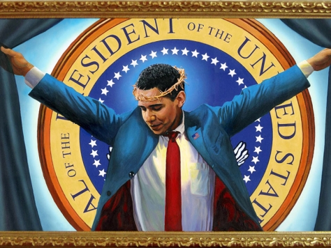 Painting Depicts Obama as Crucified Jesus Christ