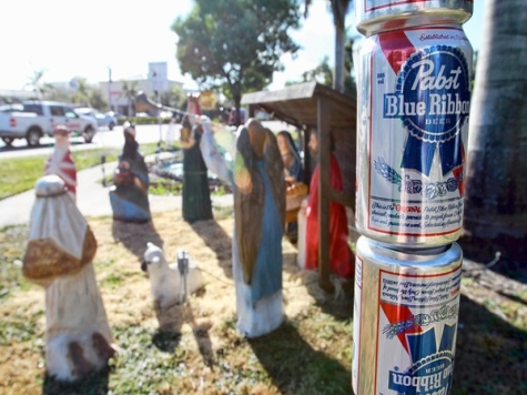 FL Activist Puts Up 'Festivus Pole' of Beer Cans Next to Nativity Scene