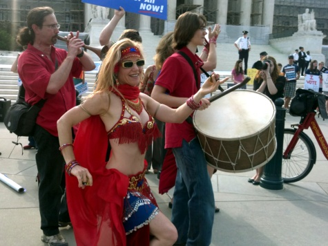 Belly Dancers for Obamacare! Protesters Gather Outside SCOTUS