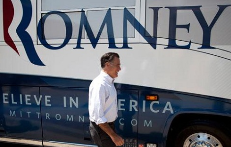 Romney Launches Blue State Bus Tour